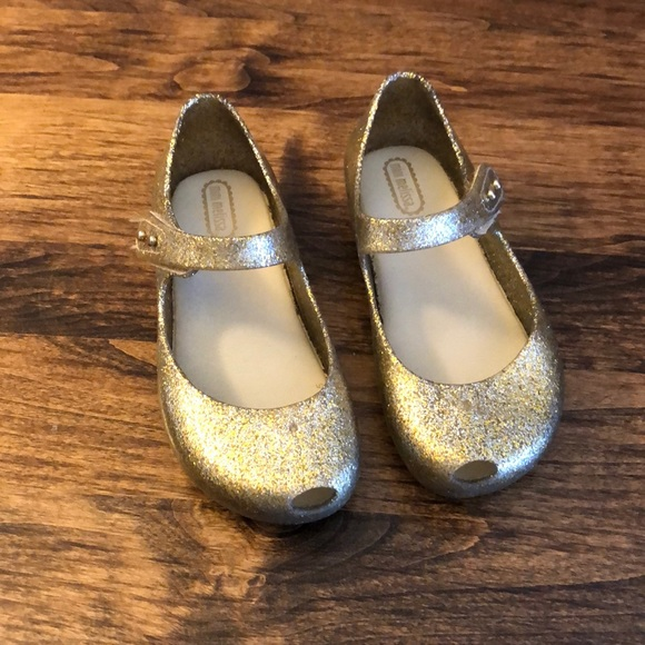 detailed images new product official photos Mini Melissa gold shoes size 10